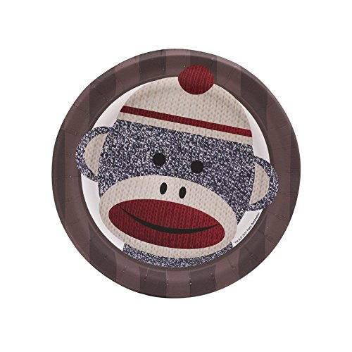 Sock Monkey Party Supplies - Dessert Plates (8) (Sock Puppet Monkey Costume)