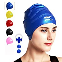 Swim Cap for Long Hair,Waterproof Silicone Swimming Caps for Women Men Kids Child Girls for Dreadlocks&Short Hair Keeps Hair Clean Ear Dry with Swimming Ear Plugs and Nose Clips