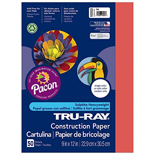 Riverside Paper PAC103030 Pacon Tru-Ray Construction Paper, 9-Inches by 12-Inches, 50-Count, Red (103030)