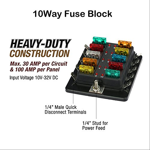 51OR98PwWLL amazon com qiilu fuse block blade fuse box holder dc 12v dc fuse box at fashall.co
