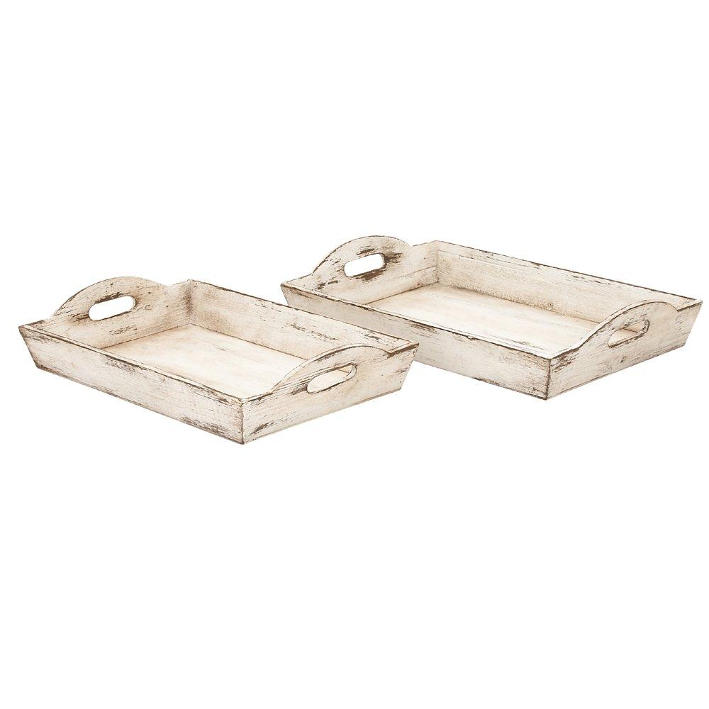 Deco 79 39464 Wood Tray, Set of 2 Benzara