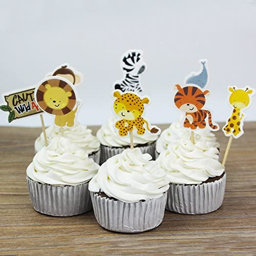 Mydio Set of 24 Cute Decorative Cupcake Muffin Toppers Wild Animals Zoo 24 Pack Farm Animals Cake Cupcake Decorative for Kids Birthday Party Themed Party Baby Shower