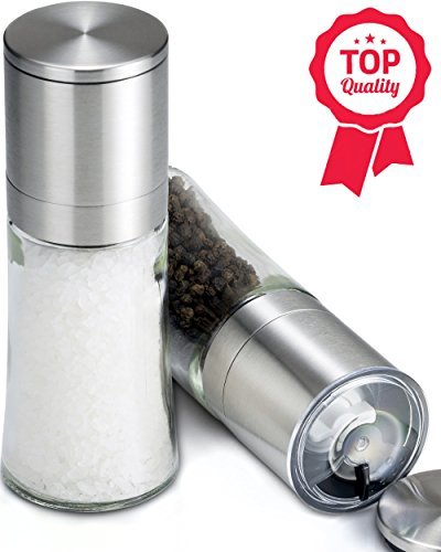 Slim & Contoured Salt and Pepper Grinder Set, Easy to Hold for Smaller Hands, Solid Glass, Brushed Stainless Steel, Peppercorn Grinders w/ Shaker Lids, Mill set of 2 ()