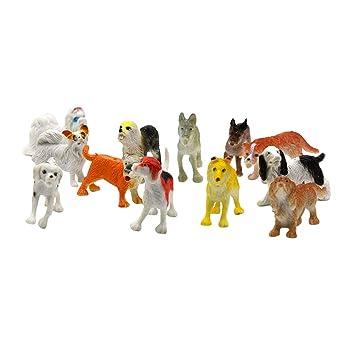 YeahiBaby Juguetes de moldes para Perros realistas - Modelos de Animales de PVC Figura Juguetes Decoración Regalo para los niños, 12 Piezas (patrón ...