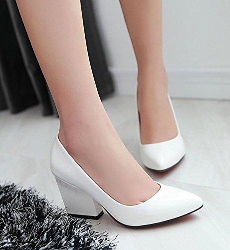 Slip De Cuero De Patente De Moda De Las Mujeres De Aisun Resbalón En Las Bombas Zapatos De Tacones Altos De Bloque Blanco