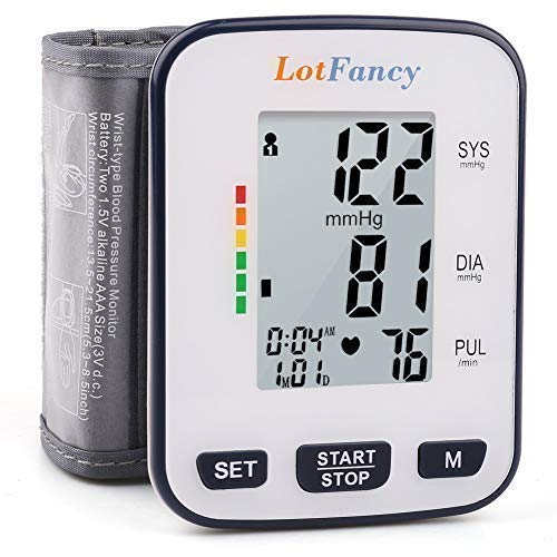 """Wrist Blood Pressure Monitor by LotFancy, 2 User Mode, 120 Reading Memory, 5.3"""" - 8.5"""" Cuff, Case Included"""