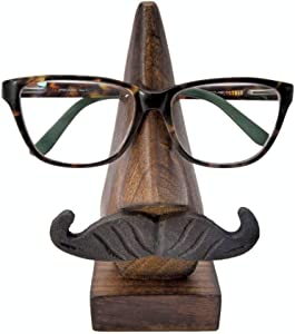 Nirvana Class Wooden Eyeglass Spectacle Holder Handmade Nose Shaped Stand for Office Desk Home Decor Gifts