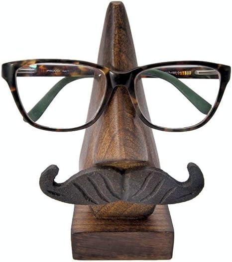 Handmade Wooden Carved Sculptured Nose Shaped Glasses Frame Holder Stand Decor