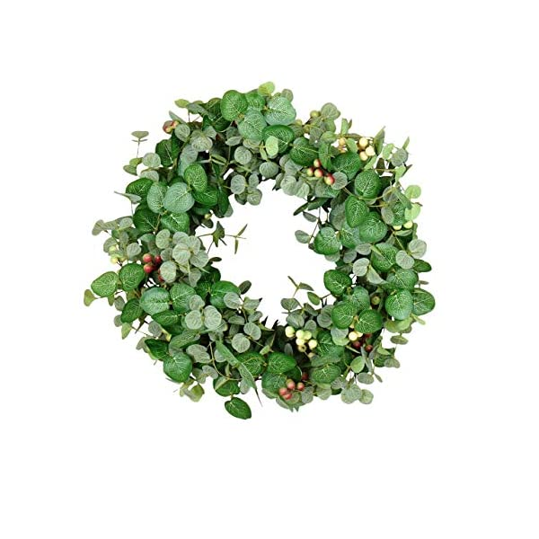 24 Inch Silver Drop Eucalyptus and Berry Spring and Summer Wreath, Artificial Leaves on Natural Twig Base – Green, Cream, Deep Red
