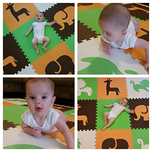 SoftTiles Interlocking Children's Foam Play Mats- Safari Animals Orange, Lime, Brown, and White- Premium Foam Mats for Kids Playrooms and Baby Nursery- (6.5' x 6.5') OLBW by SoftTiles (Image #4)