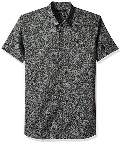John Varvatos Star USA Men's Lion Foliage Printed POPLIN Shirt, Light Olive, S ()