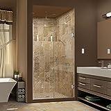 """DreamLine Unidoor Plus 47 1/2-48 in. Width, Frameless Hinged Shower Door, 3/8"""" Glass, Brushed Nickel Finish"""