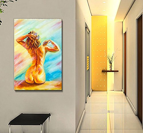 Beautiful Naked Woman Sitting Portrait of a Woman's Back in Oil Painting Style