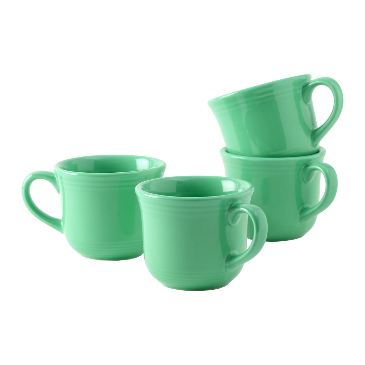 Tuxton Home Concentrix Round Cup (Set of 4), 8 oz, Cilantro Green; Heavy Duty; Chip Resistant; Lead and Cadmium Free; Freezer to Oven Safe up to 500F