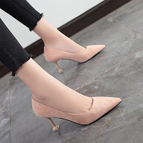 para 7cm Punta Jqdyl con High mujer zapatos femenina New profesionales Tacones pink Pink sueltos Wild Spring Heels Zapatos 0Xx0Oaq