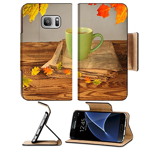 Liili Premium Samsung Galaxy S7 Flip Pu Wallet Case Cup of tea with autumn leaves reflection on newspaper wood Image ID 22759699