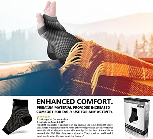 SB SOX Compression Foot Sleeves for Men & Women - BEST Plantar Fasciitis Socks for Plantar Fasciitis Pain Relief, Heel Pain, and Treatment for Everyday Use with Arch Support (Black, Medium)