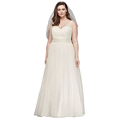 David\'s Bridal Tulle A-Line Plus Size Wedding Dress with Beading ...