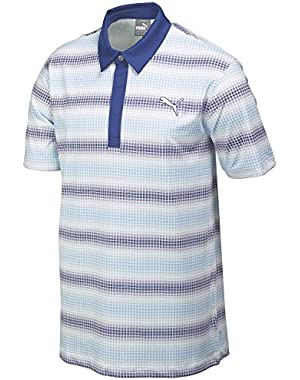 Golf Men's GoTime Check Stripe Polo Shirt - US L - Della Robbia Blue
