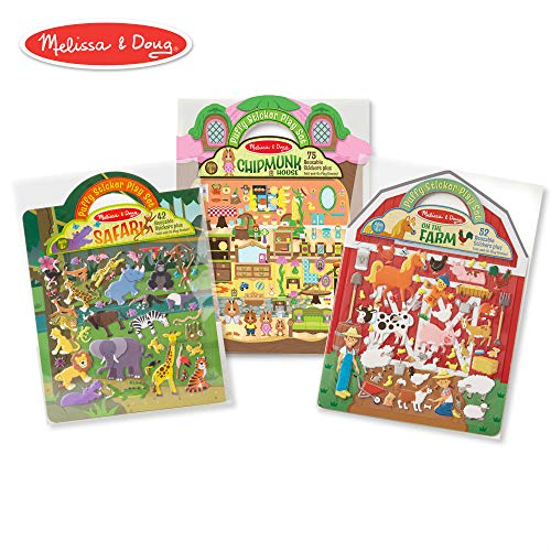 Melissa & Doug Puffy Sticker Play Set 3-Pack, Safari, Chipmunk, Farm Reusable Sticker Activity Pads (Double-Sided Background, Includes Puffy Stickers) ()