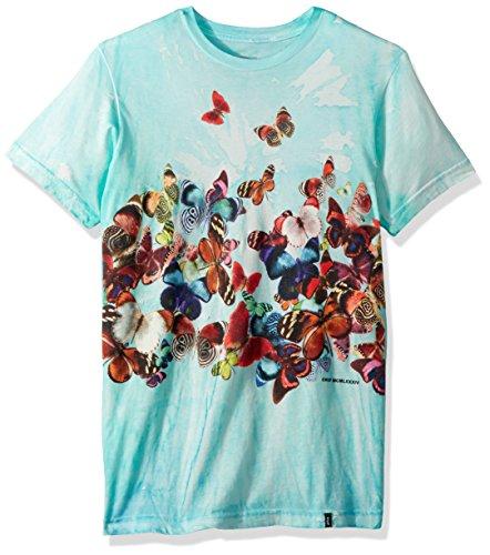 HUF Men's Butterfly Effect Tiedye Tee, Blue, L (Butterfly Tie Dye)