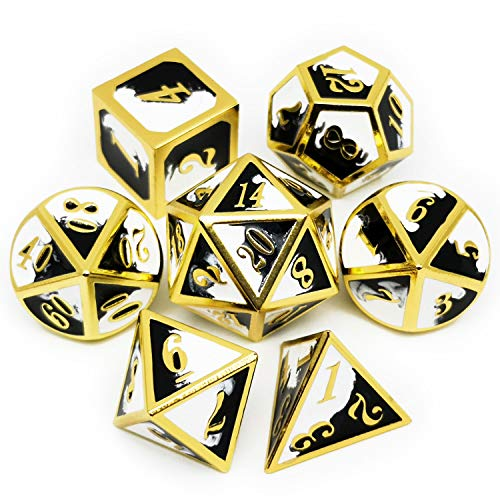 Haxtec Metal Dice Set D&D Gold Black White Metal DND Dice for Dungeons and Dragons RPG Games