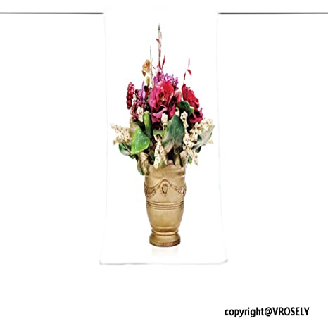 VROSELV Custom Toalla Suave y cómodo Playa Towel-Colorful Flores Ramo de Flores Artificiales arreglo