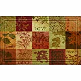 Naturelles Inspirational Squares Door Mat, 18-Inch by 30-Inch, Red