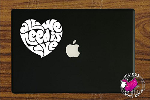 Hippies In The 70s (All We Need Is Love Text Quote in Heart (WHITE 4 INCHES) Vinyl Decal Stickers for MacBook Laptop Car Peace Music Hope One Strength Strong Infinity Song 70s Hippie Flower Child)