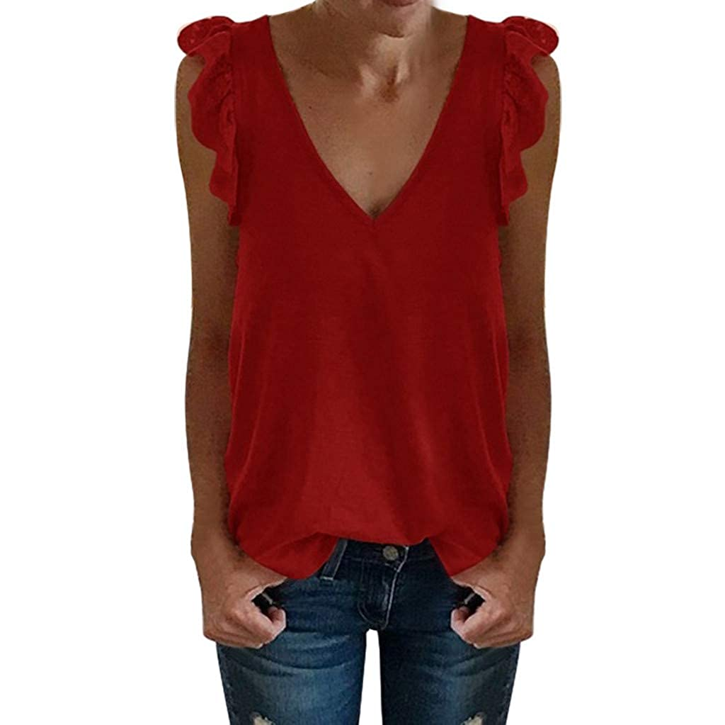 Sanyyanlsy Women's Casual Lace Ruffled Sleeve T-Shirt Solid Color V-Neck Top Ladies Summer Sleeveless Tank Top Vest