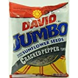DAVID SUNFLOWER SEEDS JUMBO CRACKED PEPPER - Bag 5.25 oz Each (12 in a Pack)