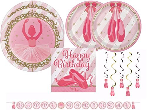 Twinkle Toes Ballerina Ballet Birthday Party Supplies Kit Includes Plates, Napkins and Shaped Ribbon Banner ()