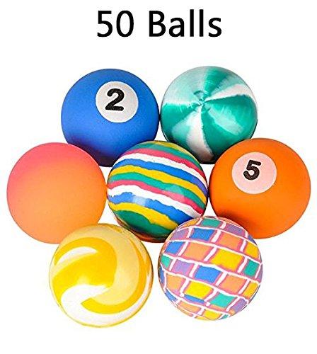 Kicko Assorted Bouncy Balls, 50 Hi-Bounce Super Balls - Bulk Novelty and Gag Toys, Party Favor, Bag Stuffer, High Bouncing Balls]()