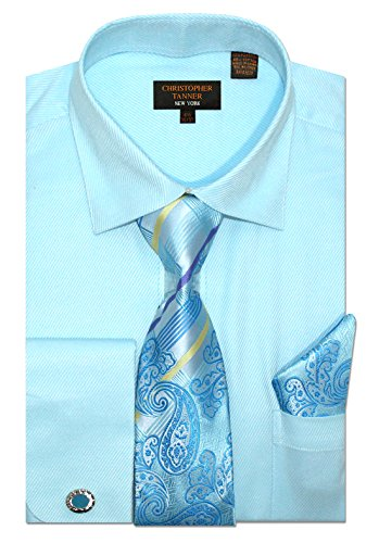 Christopher Tanner Men's Regular Fit Dress Shirts with Tie & Hankerchief Cufflinks Combo Twill Pattern 19.5