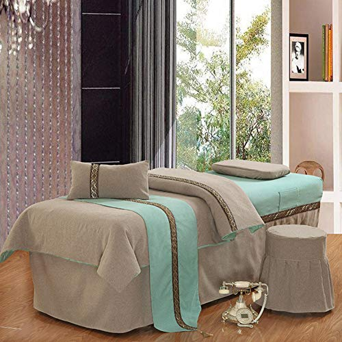 ynh Solid Color Massage Table Sheet Sets, Simple Linen Beauty Bed Cover Soft&Breathable Bedspread with Face Rest Hole -Light Tan 80x190cm(31x75inch)