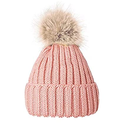 Women Ladies Winter Pom Pom Hat Cosy Beanie Warm Winter Cap Pom Pom Bobble  Hat (PINK)  Amazon.co.uk  Kitchen   Home 113f8cfe75