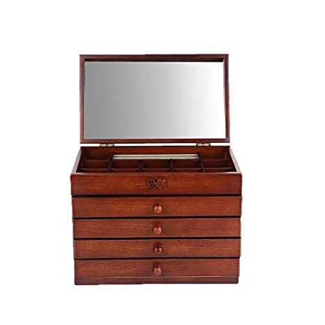 Joyero maleta joyero caja de almacenamiento Joyas de madera ...