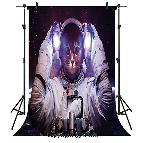 - Space Cat Photography Backdrops,Kitty in Cosmonaut Suit in Galaxy Stars Supernova Design Image,Birthday Party Seamless Photo Studio Booth Background Banner 3x5ft,White Purple and Dark Blue