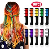 Kyerivs Hair Chalk Comb Temporary Hair Color Dye for Kid Girls Party and Cosplay DIY Festival Dress up Works on All Hair Colors Washable Black Handle Mini 10PCS