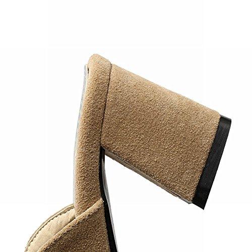 Mee Shoes Damen bequem chunky heels Nubukleder Pantoletten Aprikose