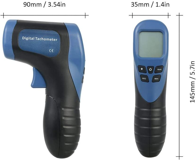 WYZXR Photo Tachometer Digital LCD Handheld Non-Contact Tach Range 2.5-99999RPM Motor Speed Meter with 1pc Reflective Tape Blue