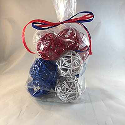 Decorative Spheres Red White and Blue Rattan Ball Vase Filler Ornament Decoration Bowl Filler