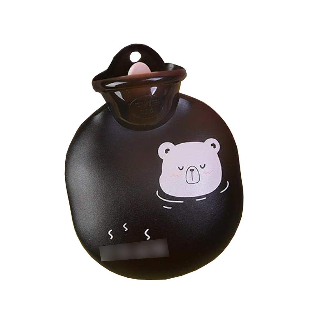 Transparent Hot Water Bottle - 350ml Discoloration Hot Water Bag, High Density PVC Easy to Carry Durable, Hot and Cold Therapy, Black by YQQWN