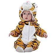 Eden Babe Unisex-baby Winter Flannel Romper Tiger Onesie Outfits Suit