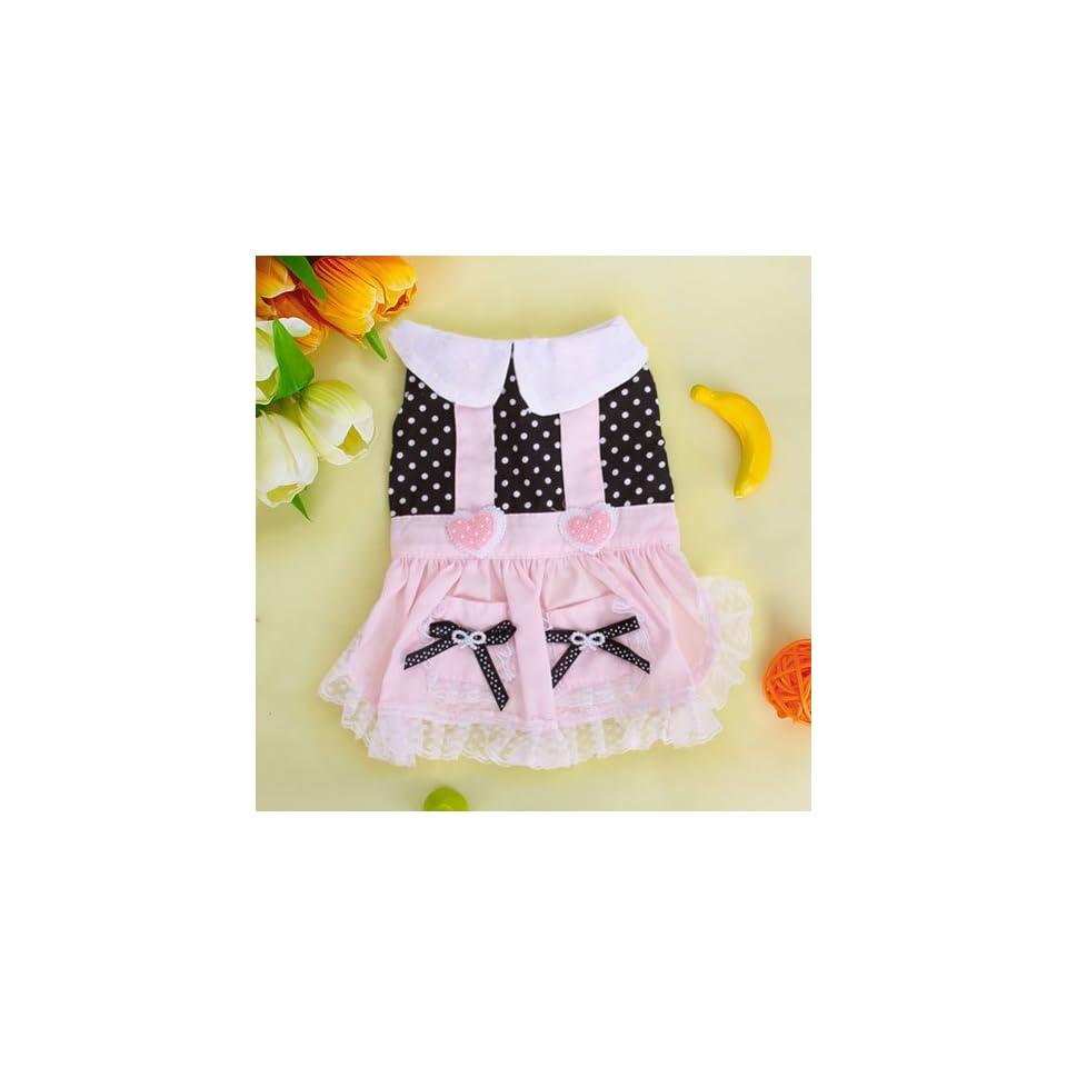 Pink and Black Pet Dog Dress Skirt Apparel Clothes w/ Dots
