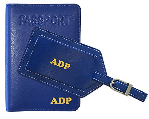 Foil Silver Cobalt (Personalized Monogrammed Cobalt Blue Leather RFID Passport Cover Holder and Luggage Tag)