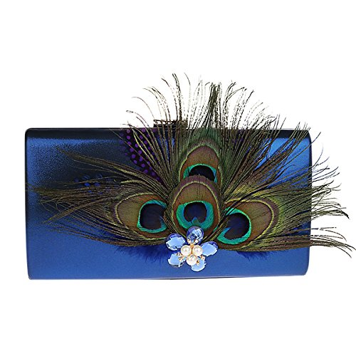Paon De Femmes Pochette En De Cristal Perle KELAND Sac à Bleu Plumes main Mariage De Avec Satin Sac xY01wSgFp