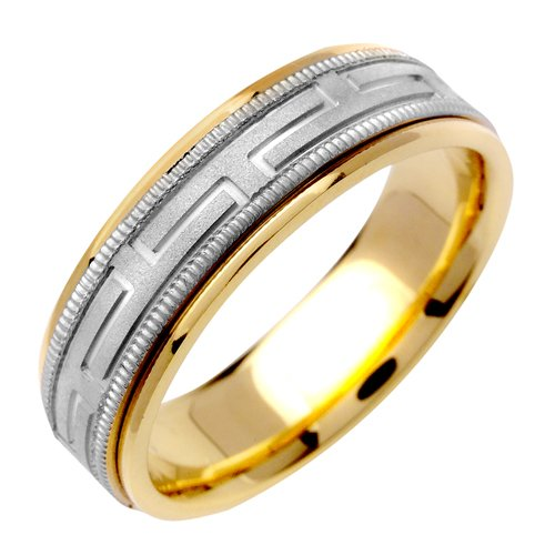JDBands 14K White & Yellow Gold Two Tone 6mm Milgrain Greek Key Textured Center Weddi.