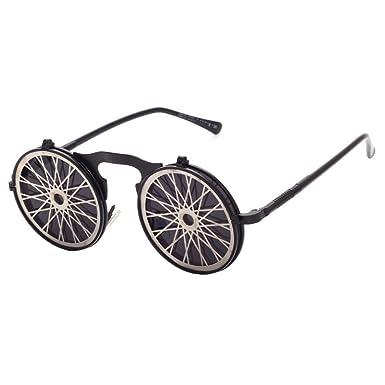 Highdas Steam Punk Sunglasses Gothic Vintage personnalit¨¦ Clamshell Lunettes Homme Femme ronde en m¨¦tal Shades C2 BEoaCB
