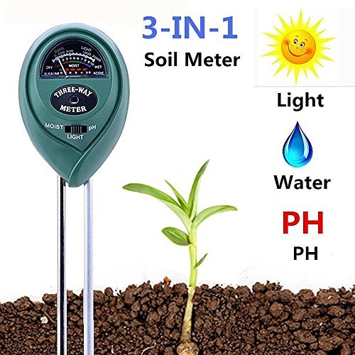 Soil pH Meter, 3-in-1 Soil Test Kit for Moisture, Light & pH/Acidity, Gardening Tools for Home and Garden, Lawn, Farm, Plants, Indoor & Outdoor Plant Care Soil Tester (No Battery Needed)